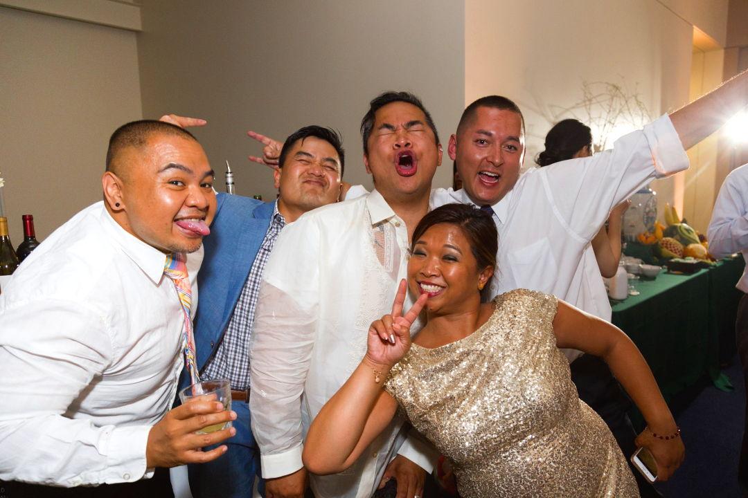 JM and drinking buddies enjoying the open bar at the Presidio wedding