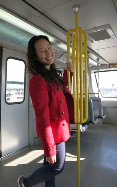 Nadia Standing in the Vancouver Rail Car