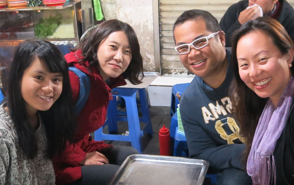 Nadia and JM with Our New Friends From Hanoi Street Food Tour