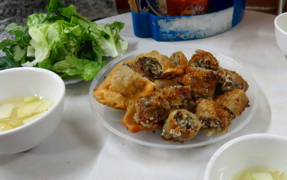 Banh Goi During the Hanoi Street Food Tour