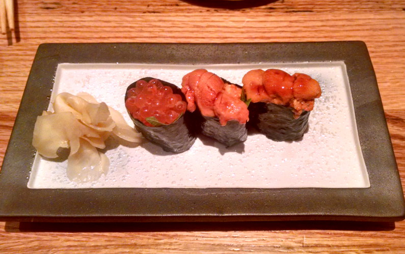3 Sushi Pieces on a Plate with Ginger at Wako Clement