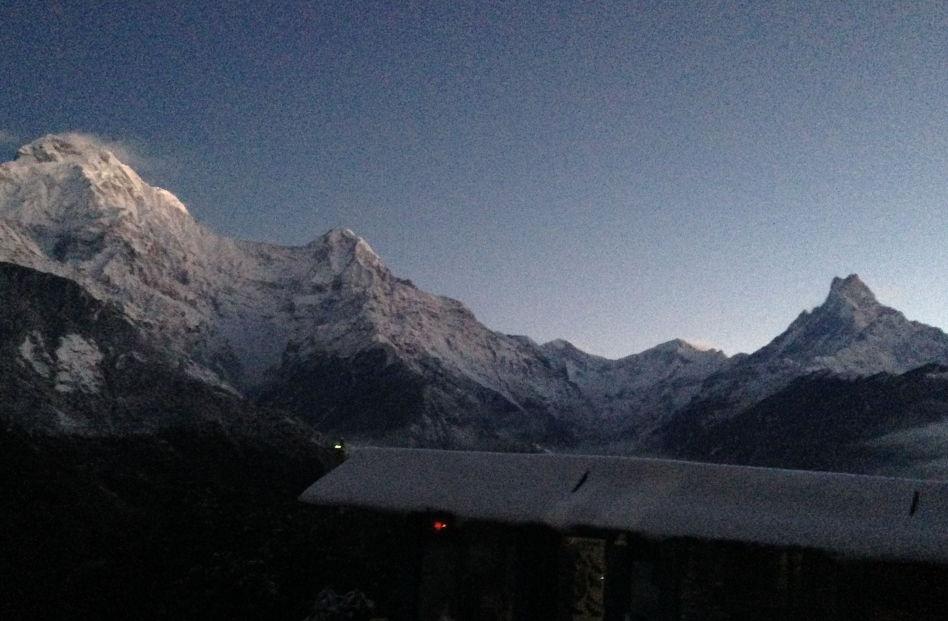Annapurna Mountain Range at Sunrise in Ghandruk Nepal