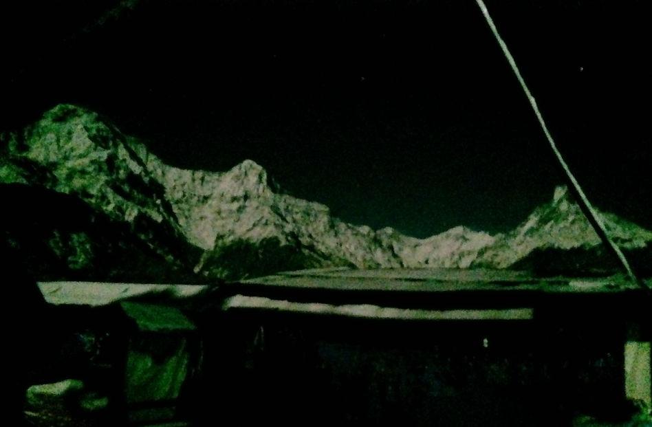 Annapurna Mountain Range at Night in Ghandruk Nepal