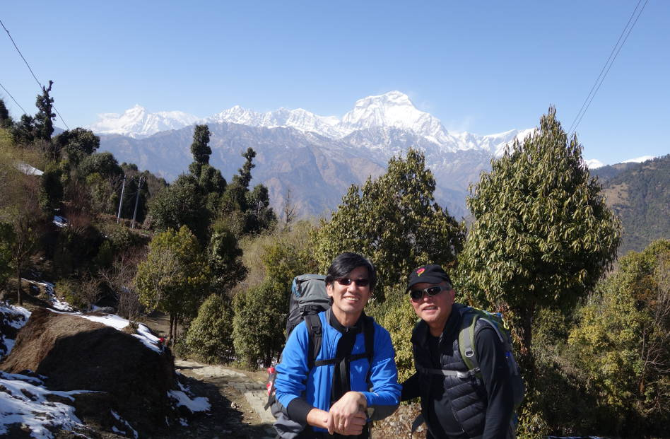 Eli with Howie at Poon Hill Nepal