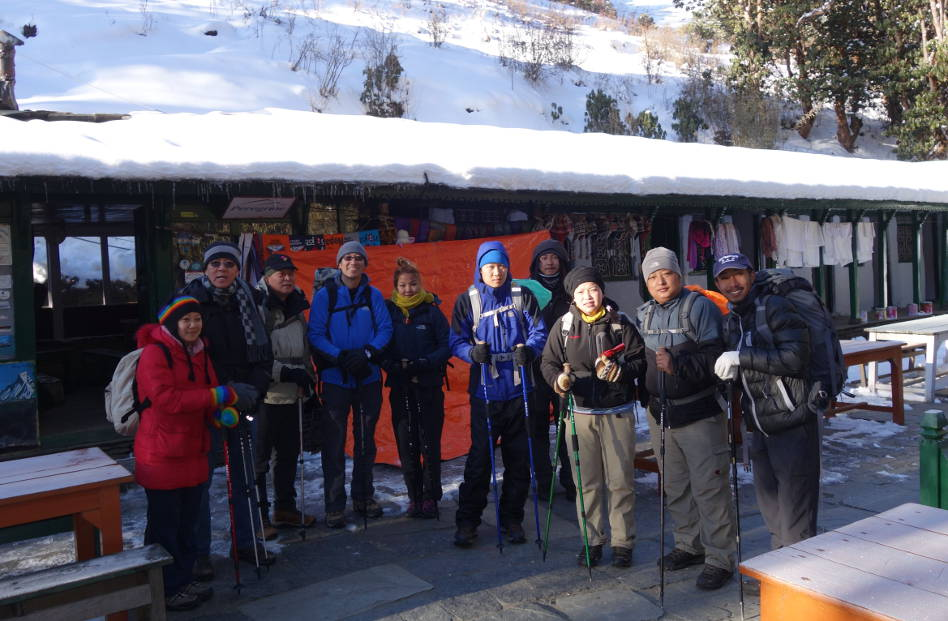 Eli and Group Ready to Hike the Rest of Ghandruk in Nepal