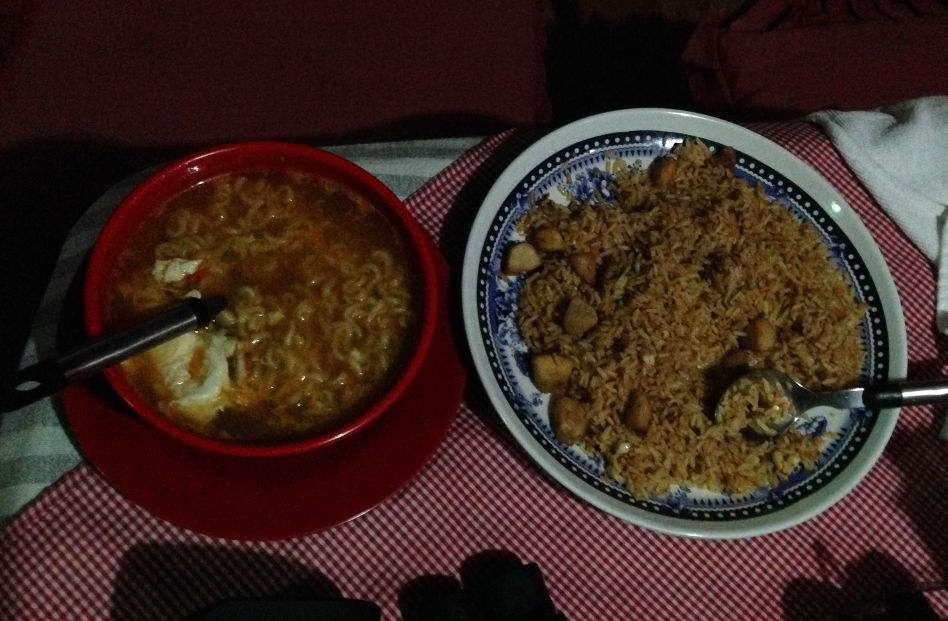Instant Noodle and Fried Rice at Our Rest Area in Ghandruk, Nepal