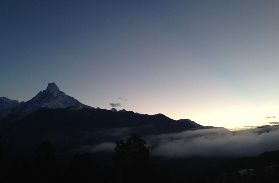 Lone Mountain at Dusk in Ghandruk, Nepal