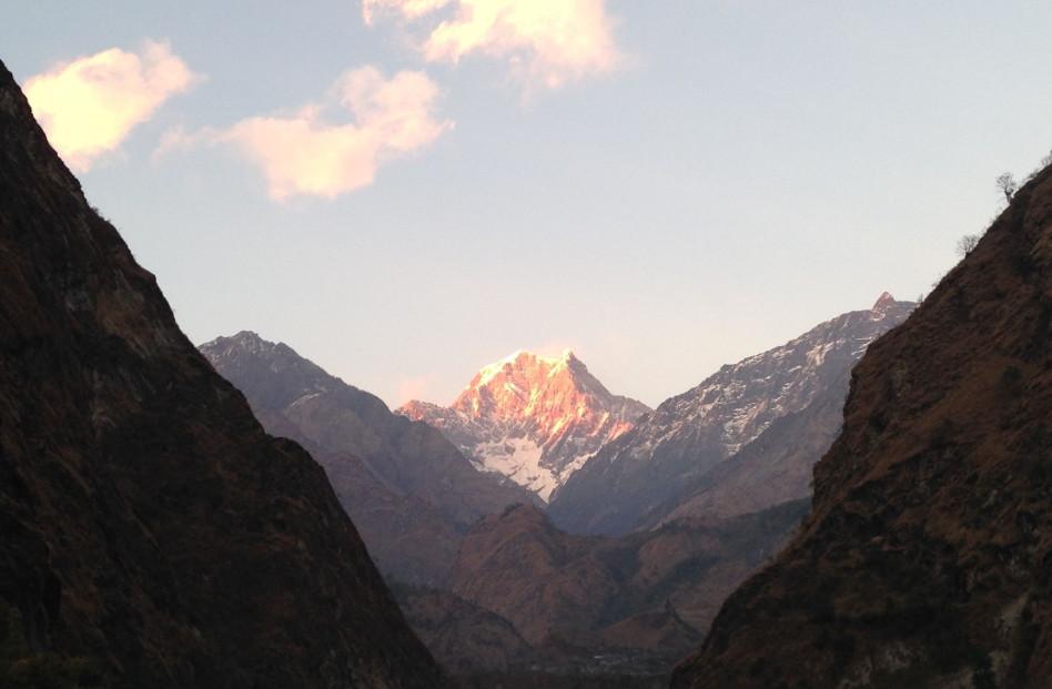 Cloudy Day with Tatopani Mountain Peak at Sunrise in Nepal