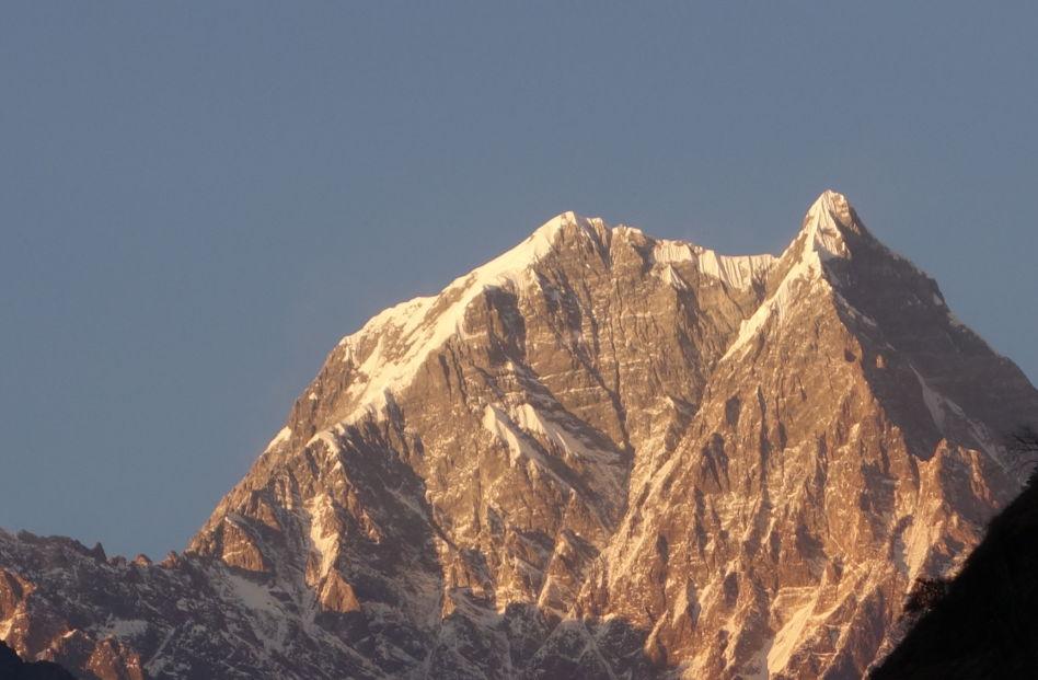 Close Up of Tatopani Mountain Peak at Sunrise in Nepal