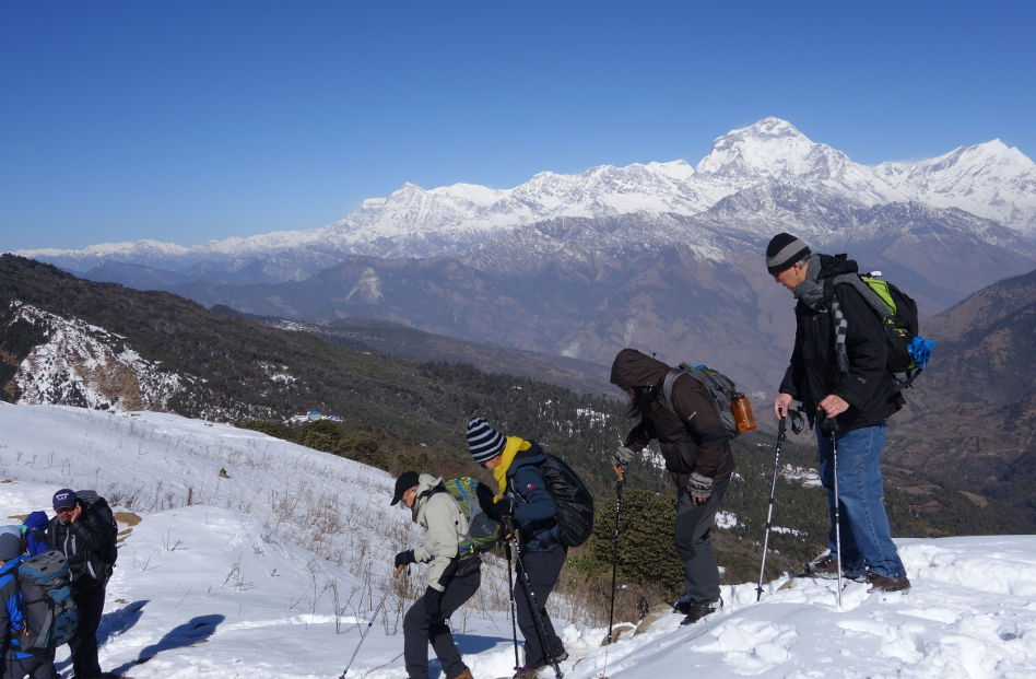 Eli and Hikers Descending From Their Hike in Nepal
