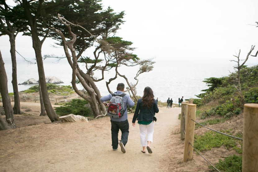 Nadia and JM Walking Toward Point Lobos for a Proposal