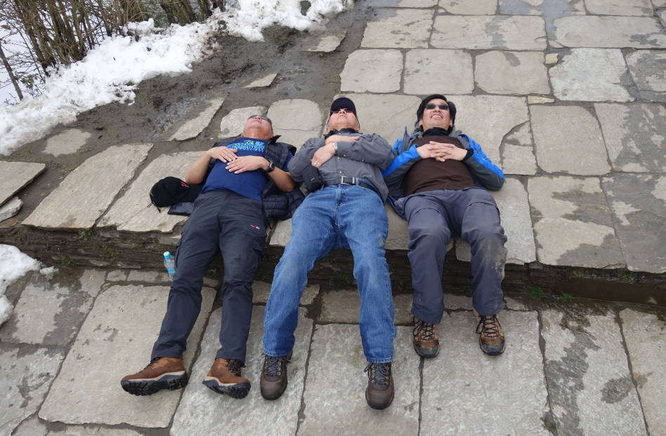 Eli and 2 Friends Taking a Quick Nap on the Rocks of Nepal