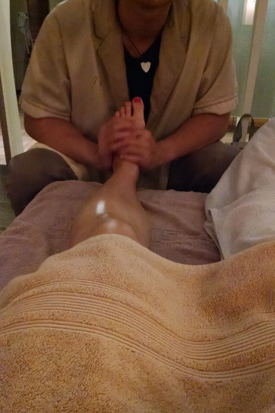 Nadia Getting a Foot Massage From a Therapist at Taipei 1000 Mile Massage Center