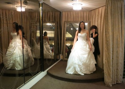 Ching Hua Bridal Art Behind the Scenes Wedding Dress Selection with Nadia Getting Fitted into a White Dress