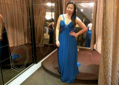 Ching Hua Bridal Art Behind the Scenes Wedding Dress Selection with Nadia in a Different Dark Blue Dress