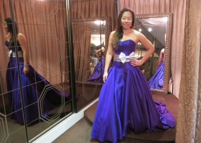 Ching Hua Bridal Art Behind the Scenes Wedding Dress Selection with Nadia in a Dark Blue Dress