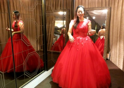 Ching Hua Bridal Art Behind the Scenes Wedding Dress Selection with Nadia in a Red Dress