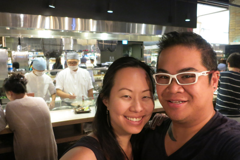 Nadia and JM Near the Kitchen with 2 Chefs Cooking at Addiction Aquatic Development Taipei