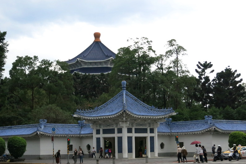 Chiang Kai-shek Memorial Hall Peaking Above the Trees and a Corner Entry