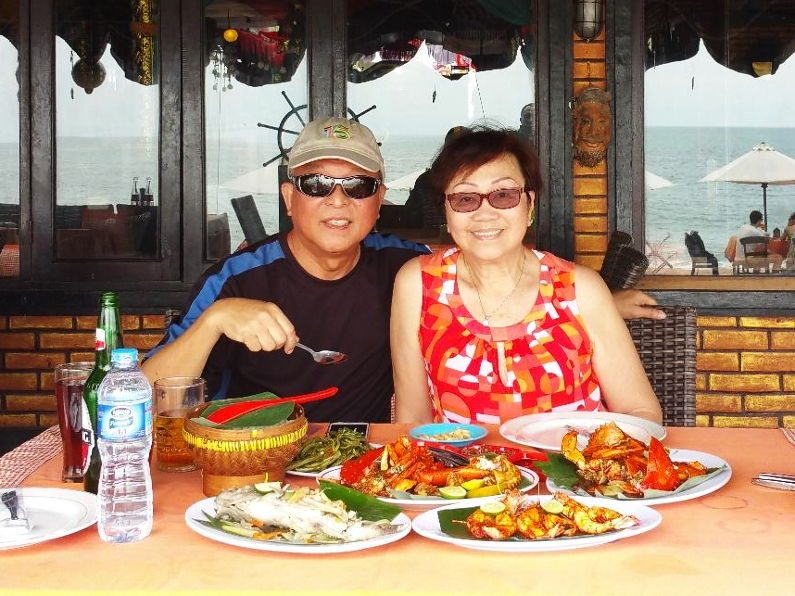 Me and Michelle Eating at Jimbaran in Bali