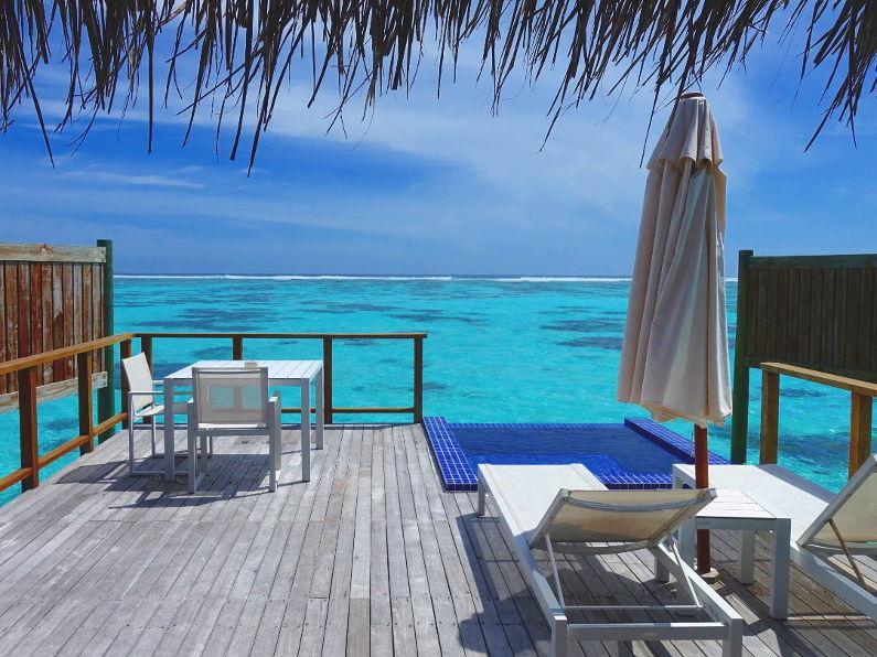 Over Water Balcony Patio at the Conrad Maldives