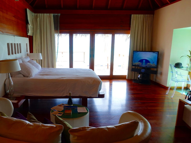 Over Water Bedroom Interior at the Conrad Maldives