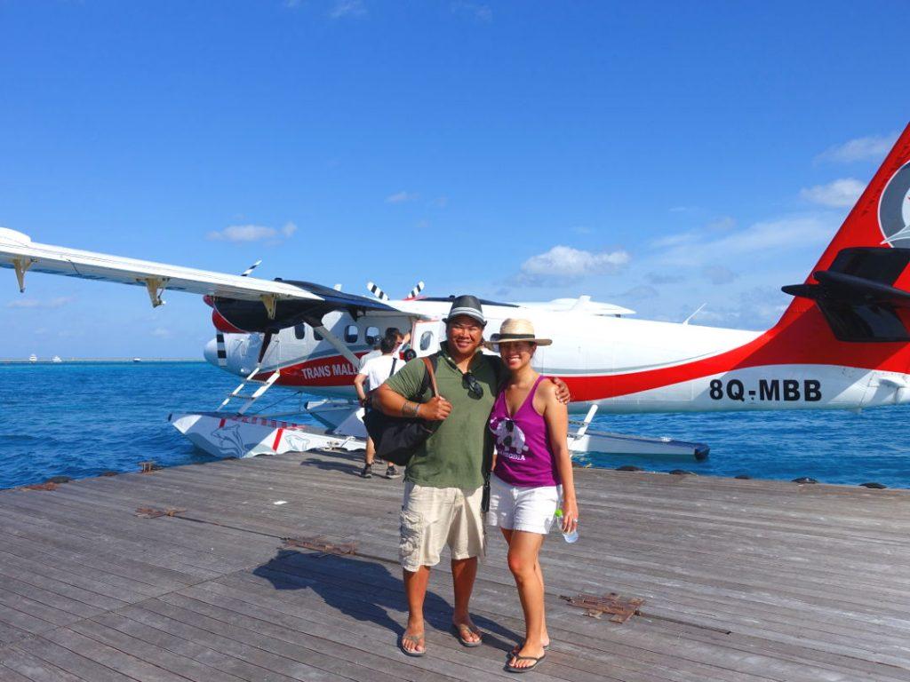 JM and Nadia Waiting to Board the Seaplane at the Conrad Maldives