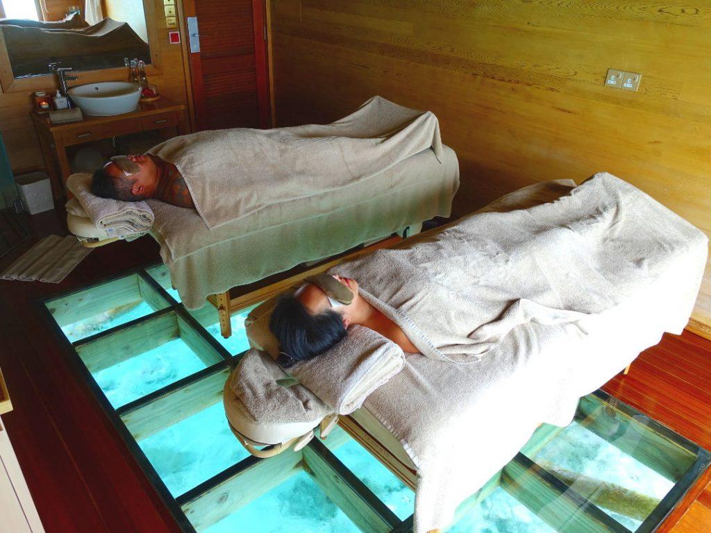 Nadia and JM Getting Massages at the Conrad Maldives