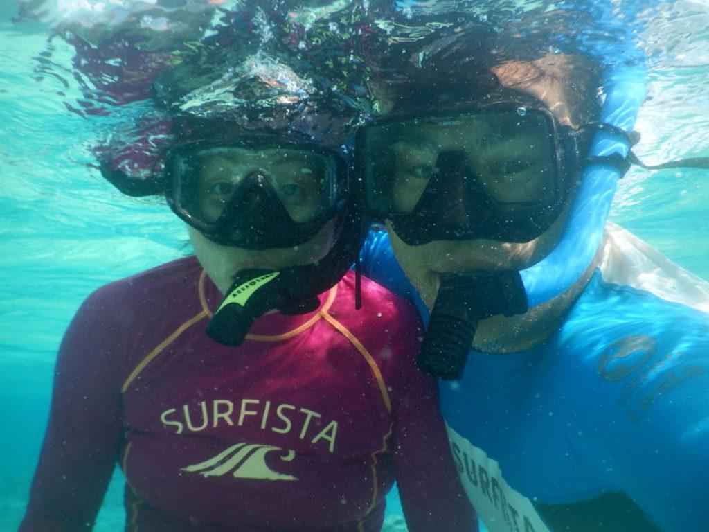Nadia and JM snorkleing in Bora Bora