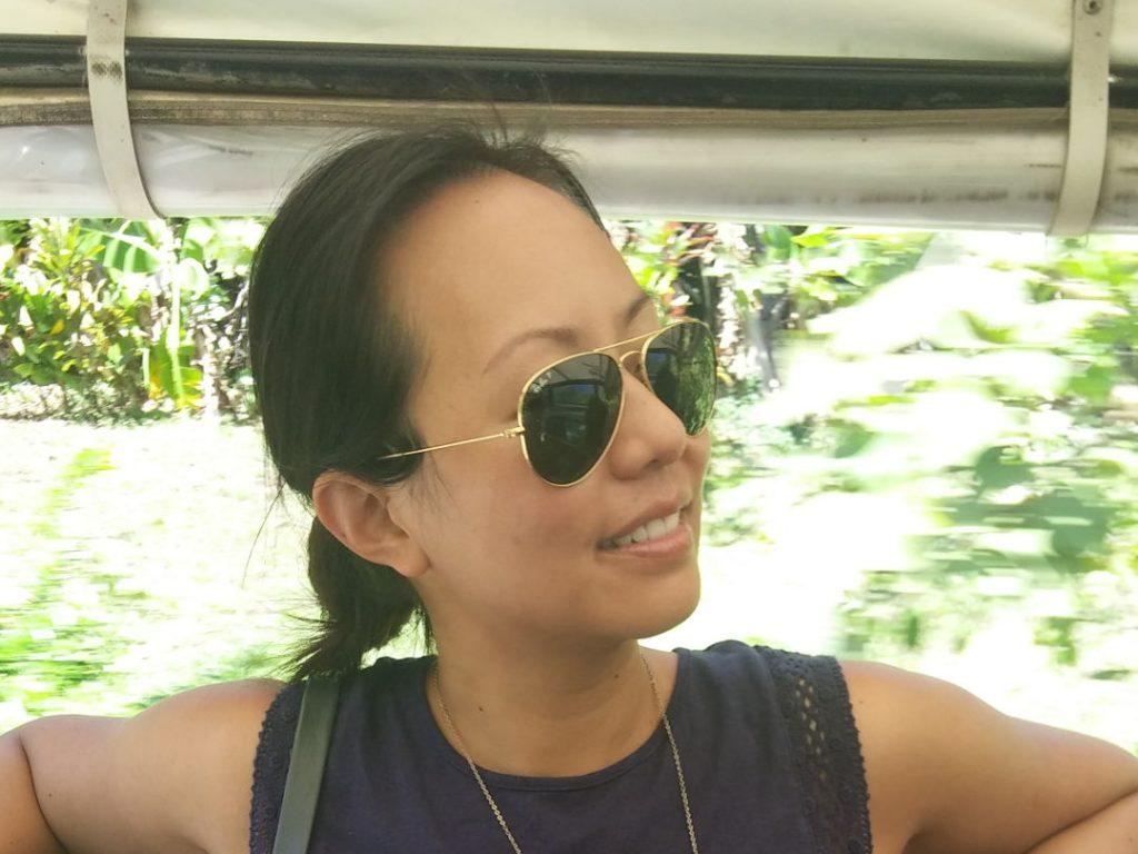 Nadia enjoying the ride in Moorea