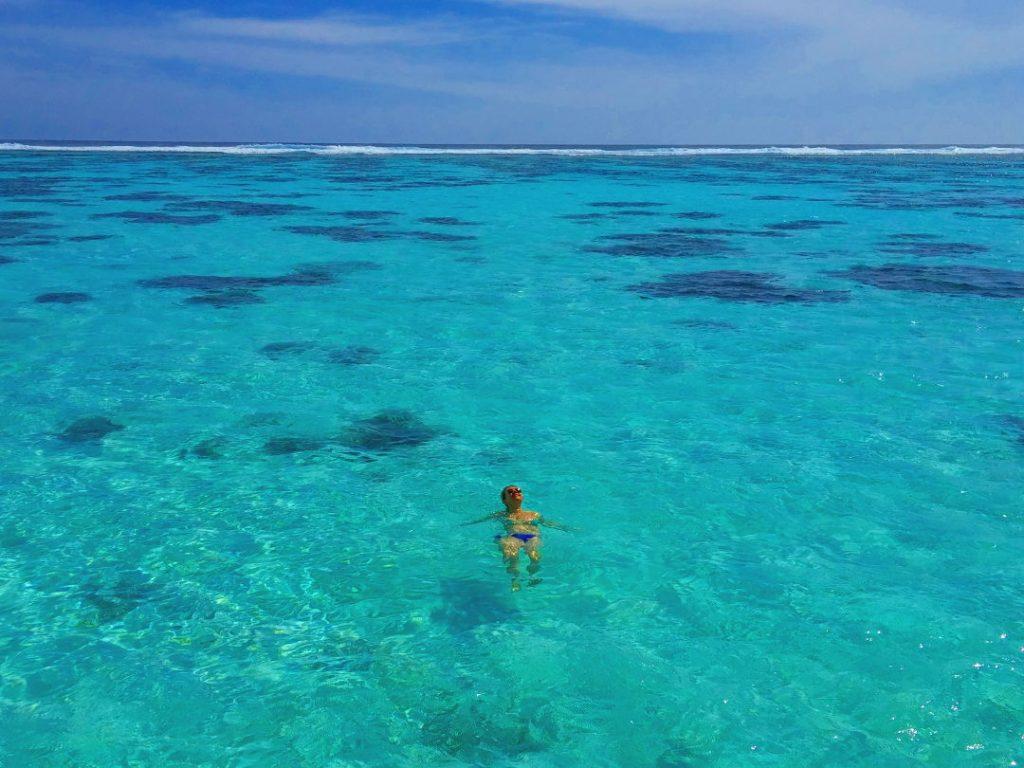 Nadia Floating in the Ocean at the Conrad Maldives