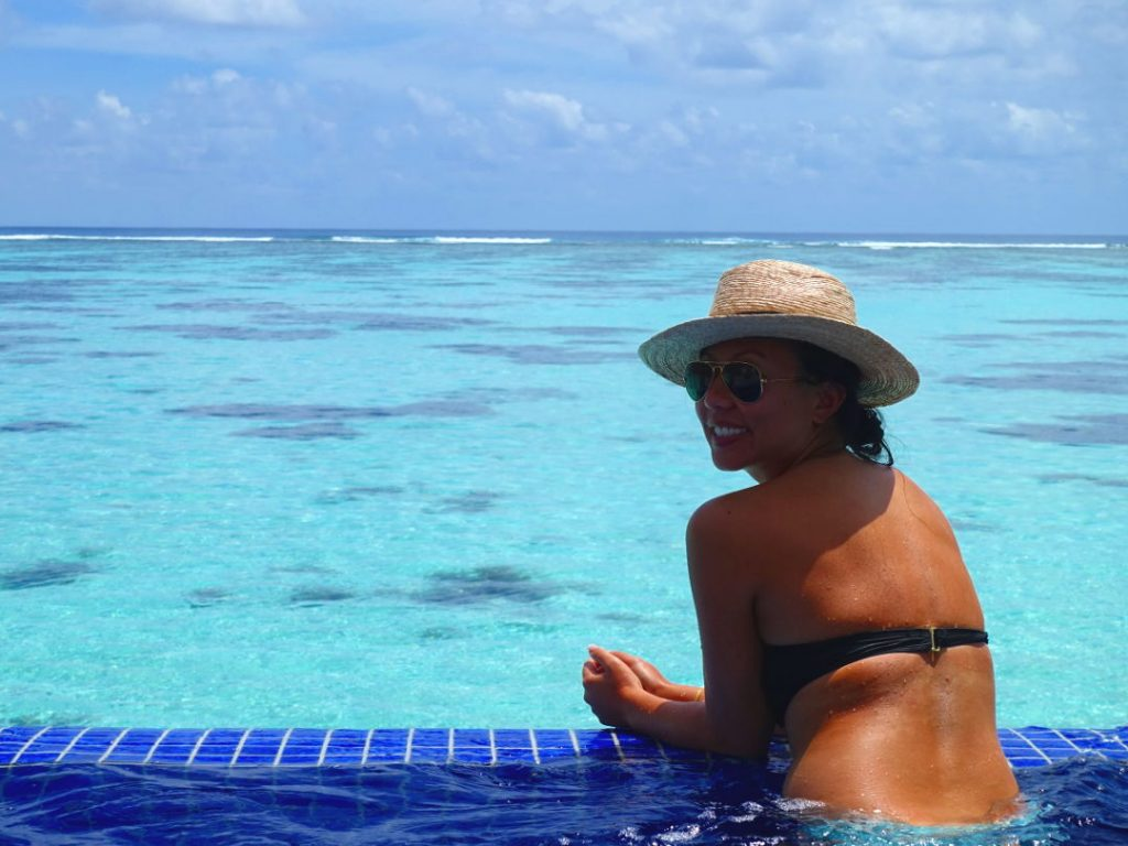 Nadia in the Spa in Our Over Water Suite for Our Conrad Maldives Honeymoon