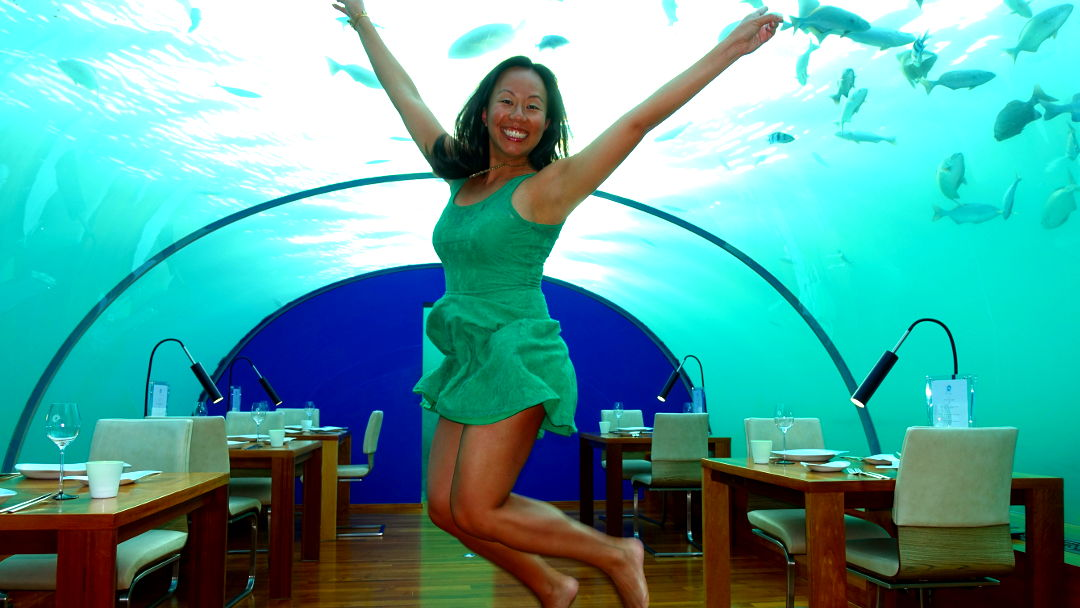 Nadia Jumping Up and Down in an Underwater Restaurant in the Conrad Maldives