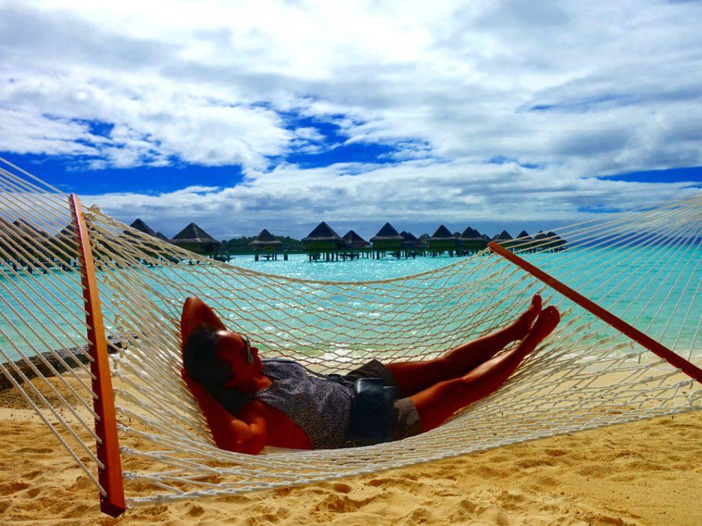 Nadia swaying on the beach hammock at the Intercontinental Bora Bora