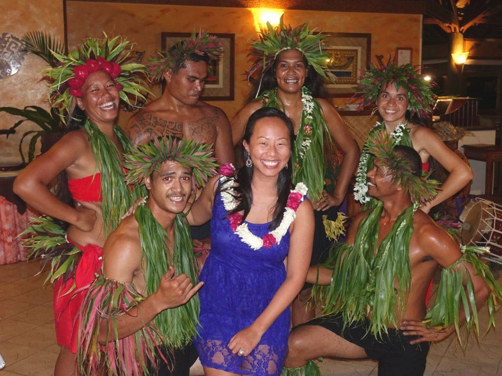 Nadia with the Huahine hula dancers