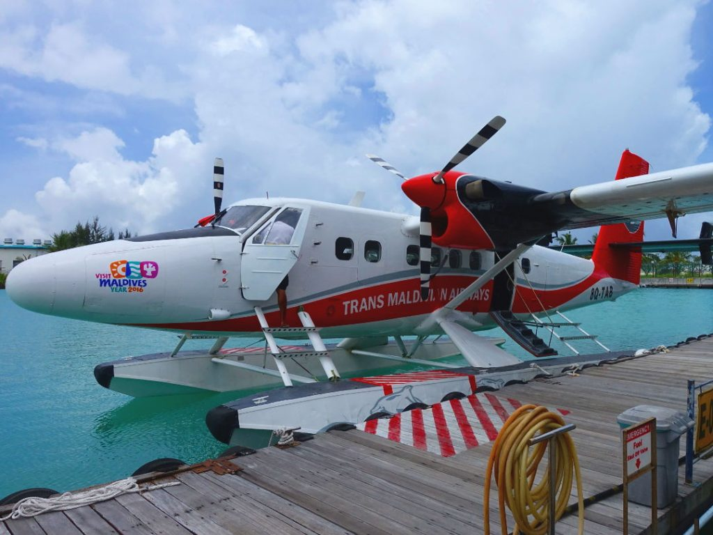 Sea plane to the Conrad Maldives