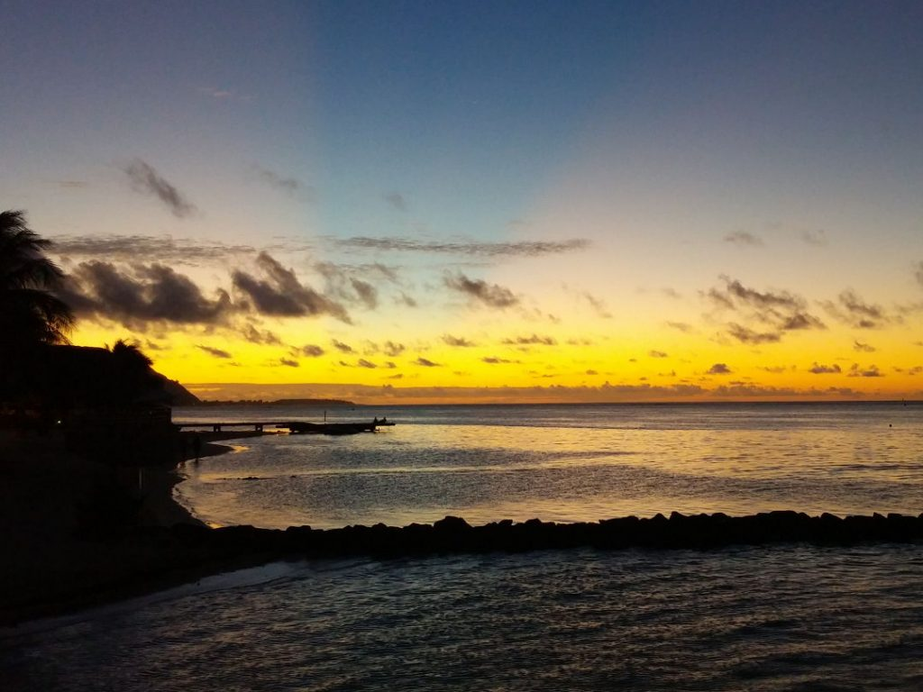 Sunset over the beach in Moorea