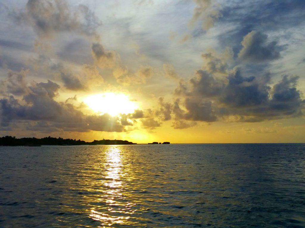 Sunset over the ocean in Moorea
