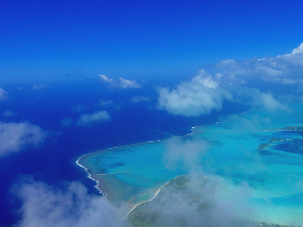 View from the plane of Huahine