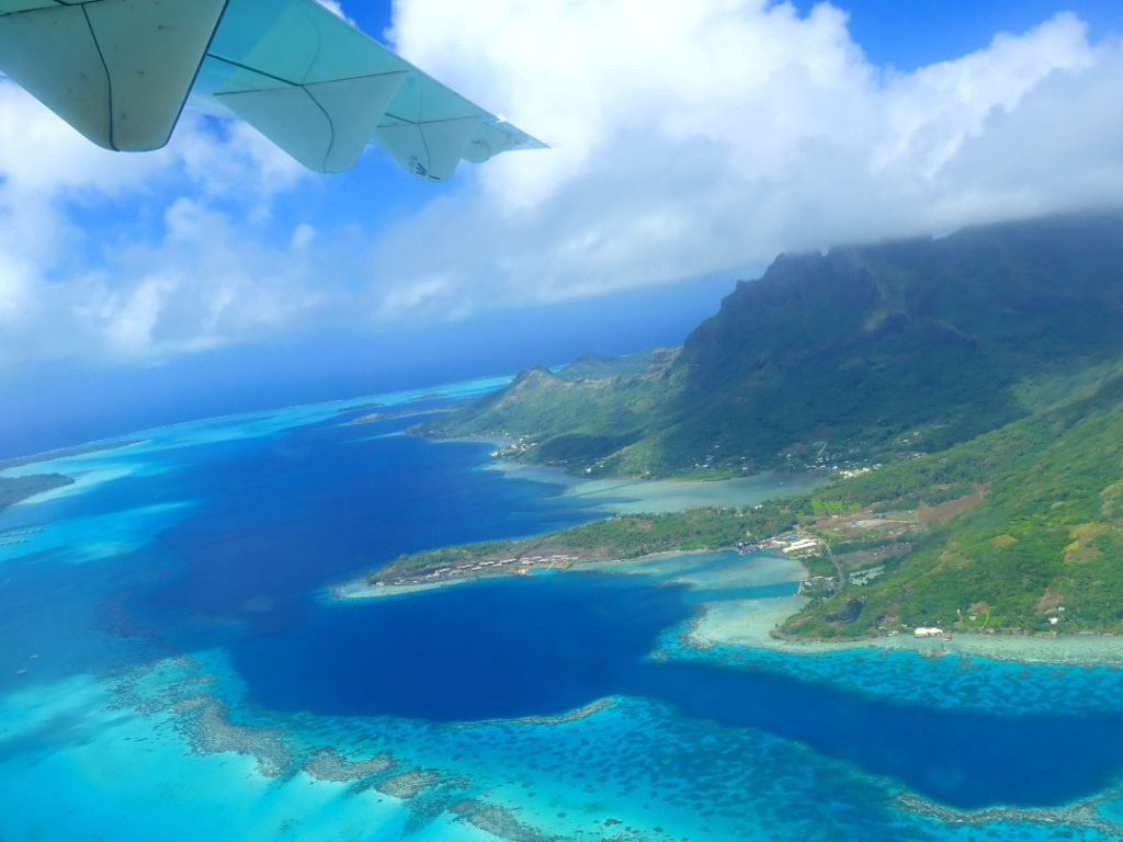 View of the island of Bora Bora from the plane window 02