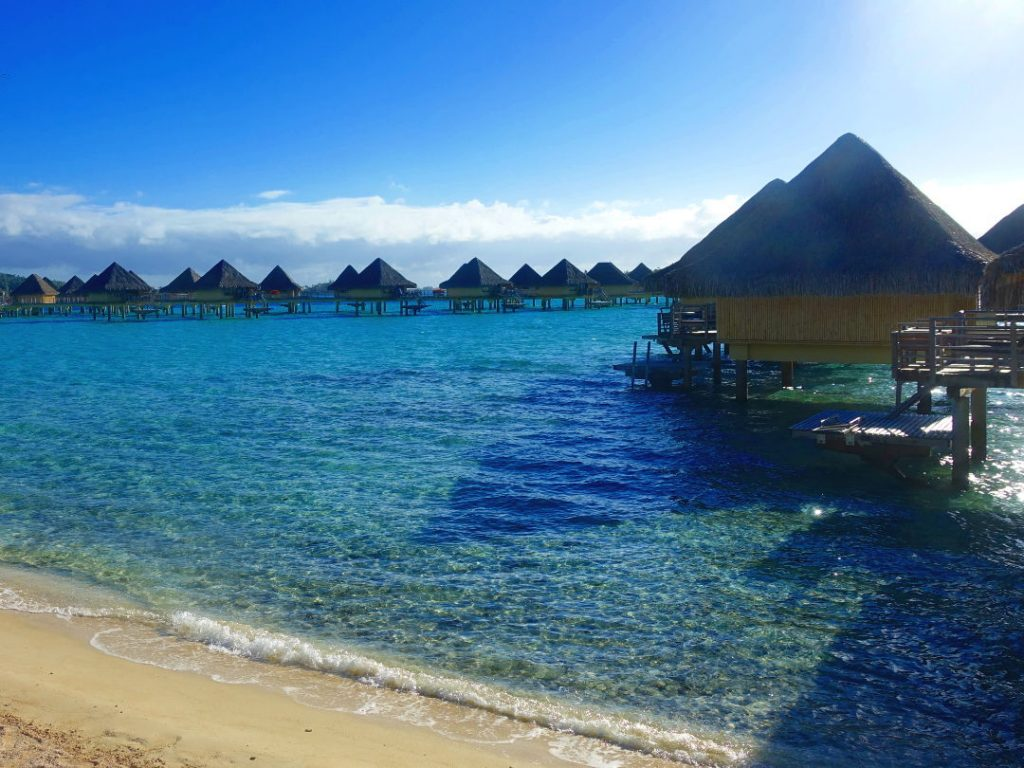 Over the water suites off the beach at the Intercontinental Bora Bora