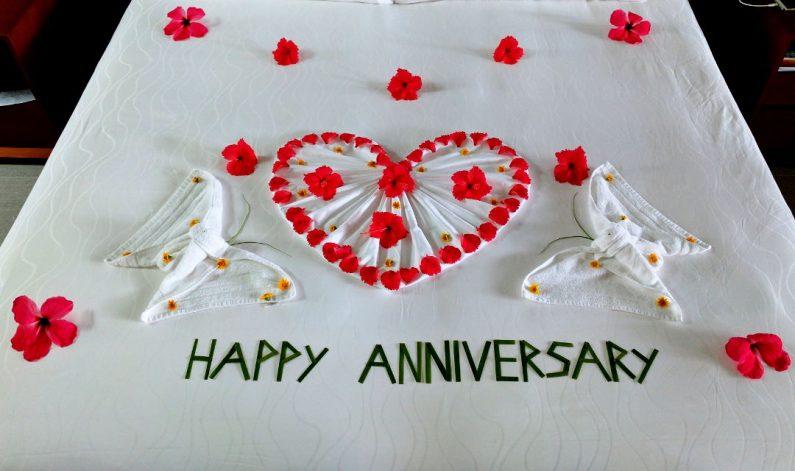 Conrad Maldives Happy Anniversary Bed Sign