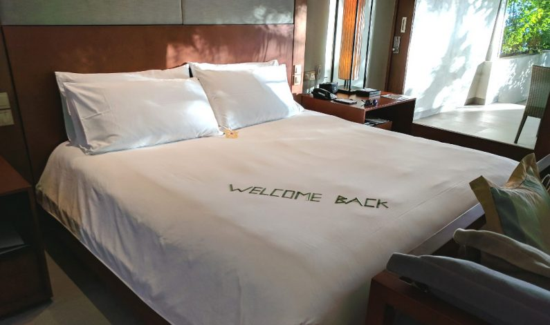 Conrad Maldives Welcome Back Bed Sign 02
