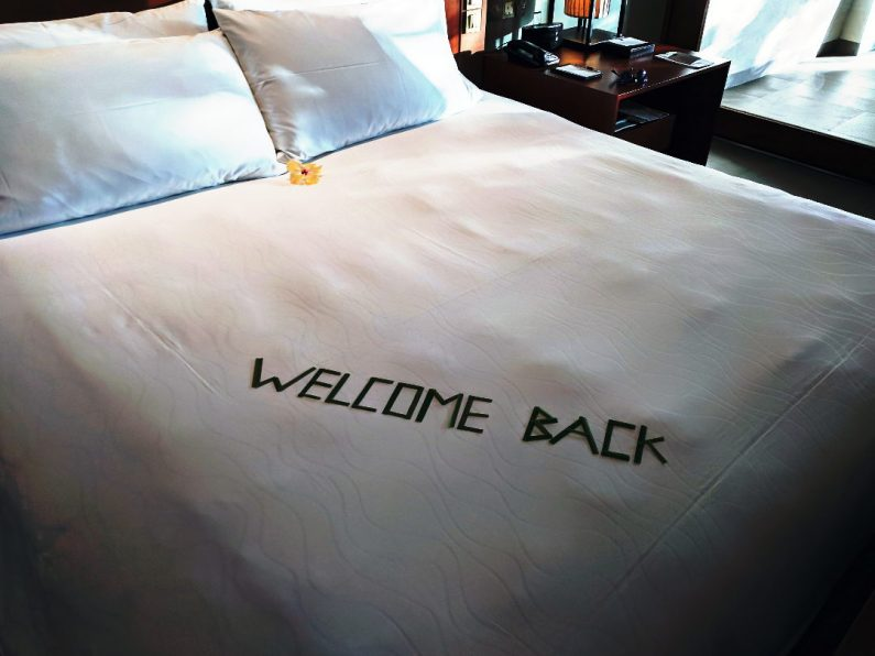 Conrad Maldives Welcome Back Bed Sign