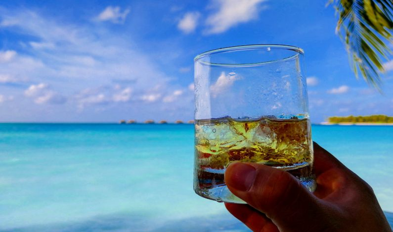 JM with a Glass of Scotch at the Conrad Maldives Happy Hour