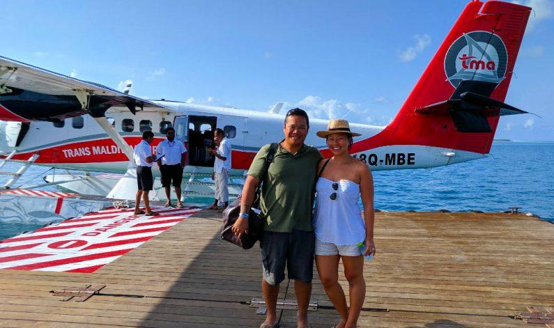 Nadia and JM Boarding a Seaplane Departing the Conrad Maldives