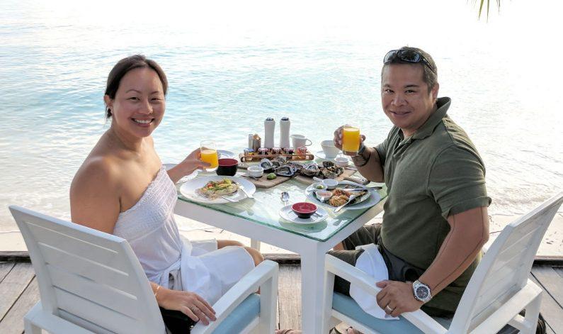 Nadia and JM Eating Breakfast at the Conrad Maldives