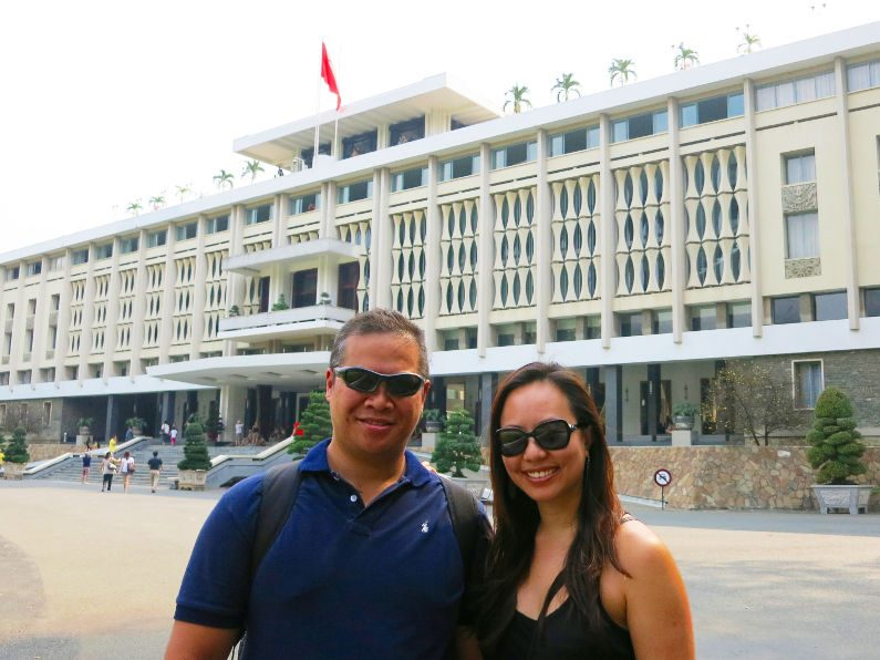 Nadia and JM Outside the Independence Palace