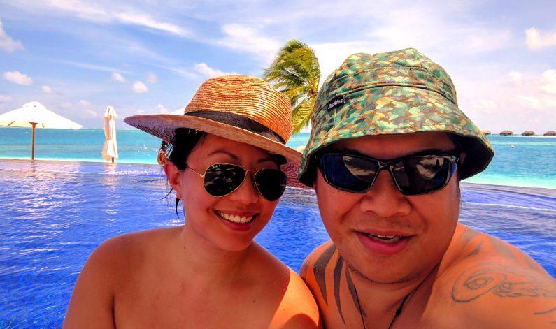 Nadia and JM Poolside at the Conrad Maldives