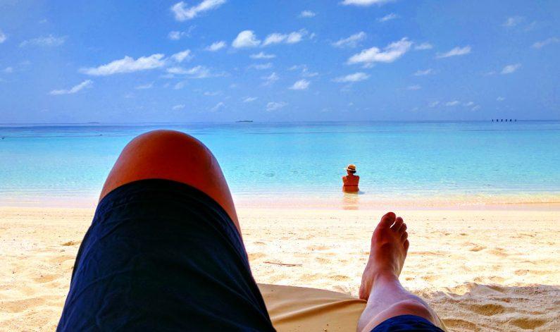 Nadia and JM at the Conrad Maldives Beach